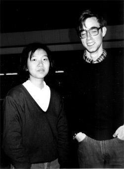 With a fellow student at Kansai Gaidai, 1985