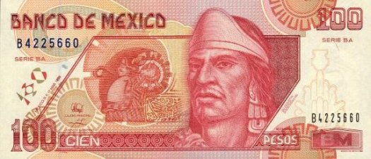 Mexican 100-peso note featuring Nezahualcoyotl