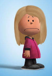 Peanuts-style cartoon figure with sad face