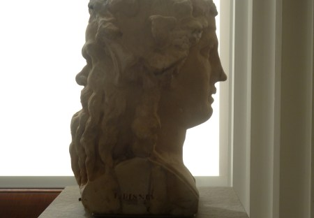 photo by Jean Morris of a bust with two faces, male and female, back to back