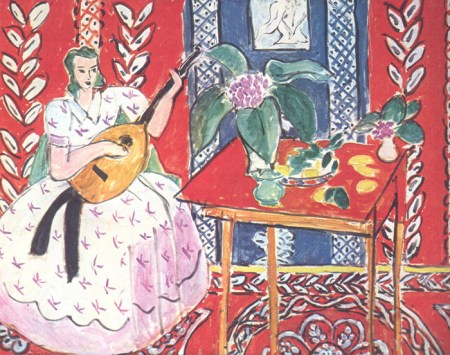 painting of a woman playing a lute by Matisse