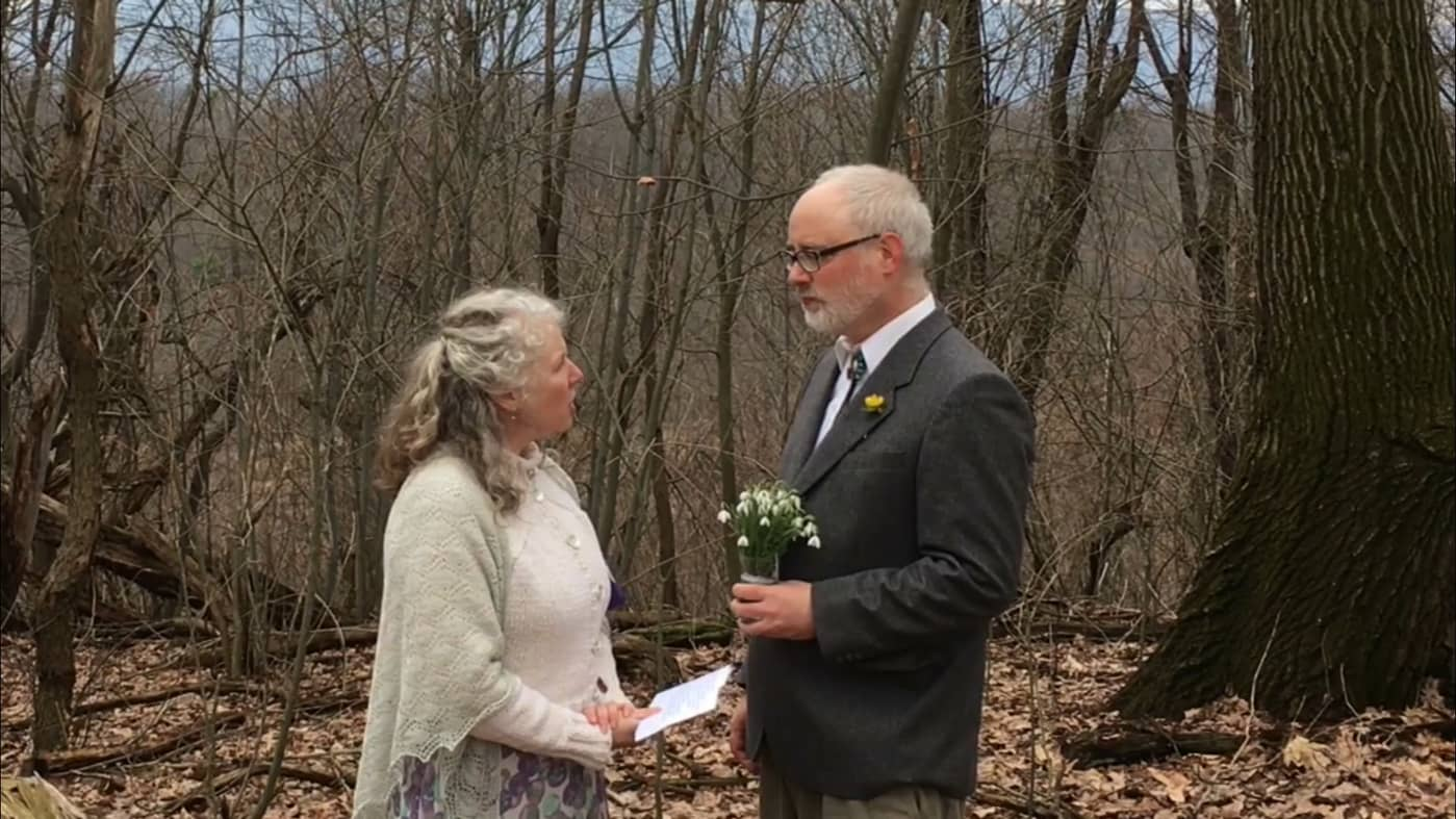 wedding couple in the woods