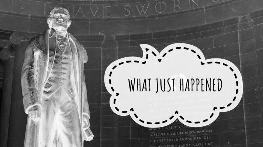 negative image of the Thomas Jefferson statue at the Jefferson Memorial with a speech ballon asking What happened