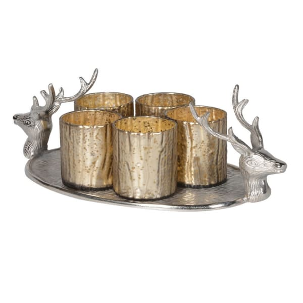 Stag head tray with silver votive holders (set of 5)