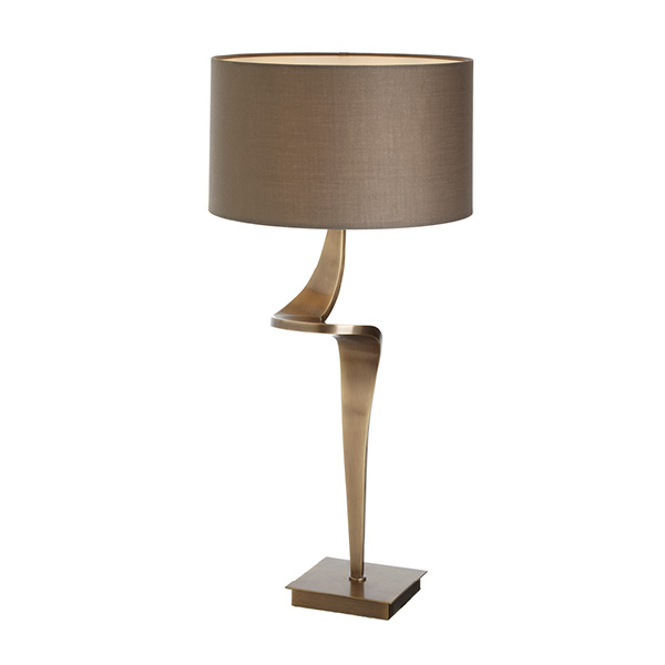 Antique brass twist design table lamp with shade