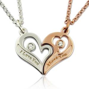 Couple's Breakable Heart Love Necklace With Birthstones