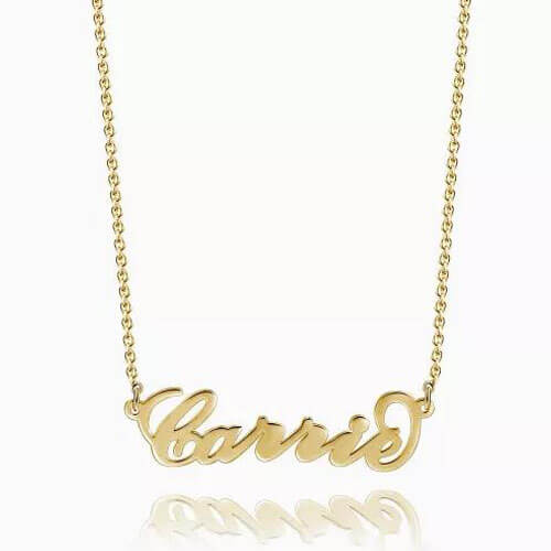 """Carrie"" Style Name Necklace 14K Gold Plated"