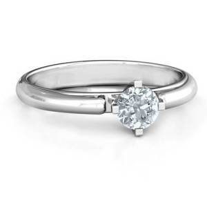 Ski Tip Solitaire Round Ring