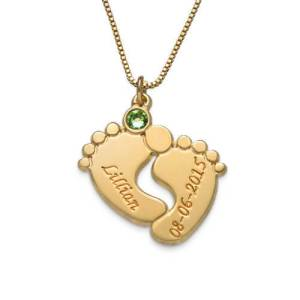 Engraved Baby Feet Necklace with Personalized Birthstone Gold Plating