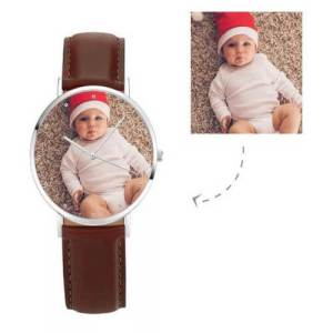 Womens Photo Watch Brown Leather Strap