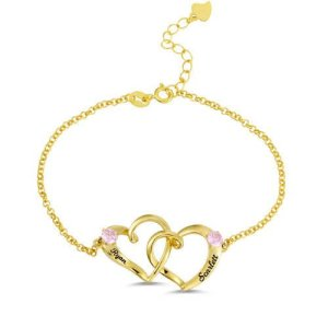 Custom Double Heart Engraved Name Bracelet In Gold