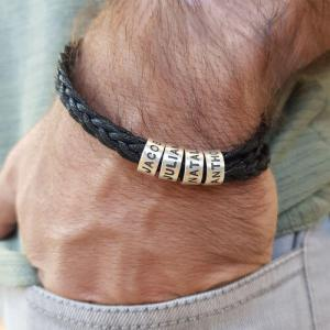 Personalized Sterling Silver Men Braid Black Bracelet with Small Custom Bracelets