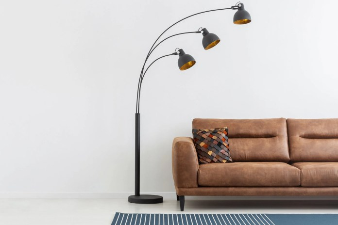 Brown Leather Couch with Lamp