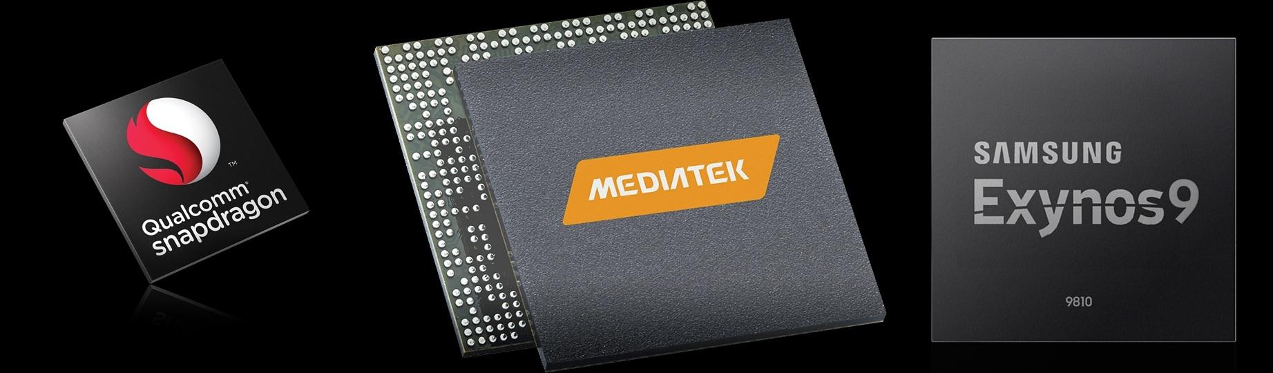 Logo Dari Prosesor Qualcomm Snapdragon, Mediatek, dan Samsung Exynos9
