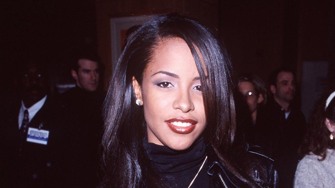 aaliyah in a black leather jacket