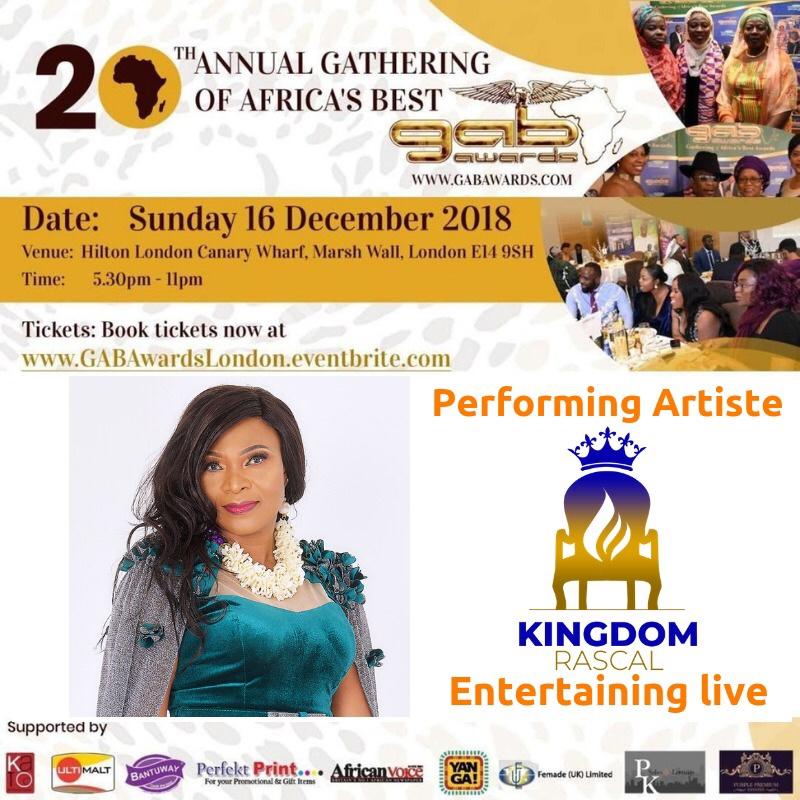 KINGDOM RASCAL TO PERFORM AT THE 20th GAB AWARDS 2018