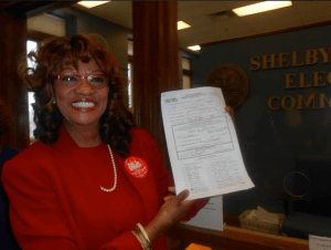 County Commissioner Henri Brooks filing her petition for Juvenile Court Clerk - via her Facebook Page