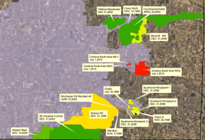 The areas that could be up for de-annexation