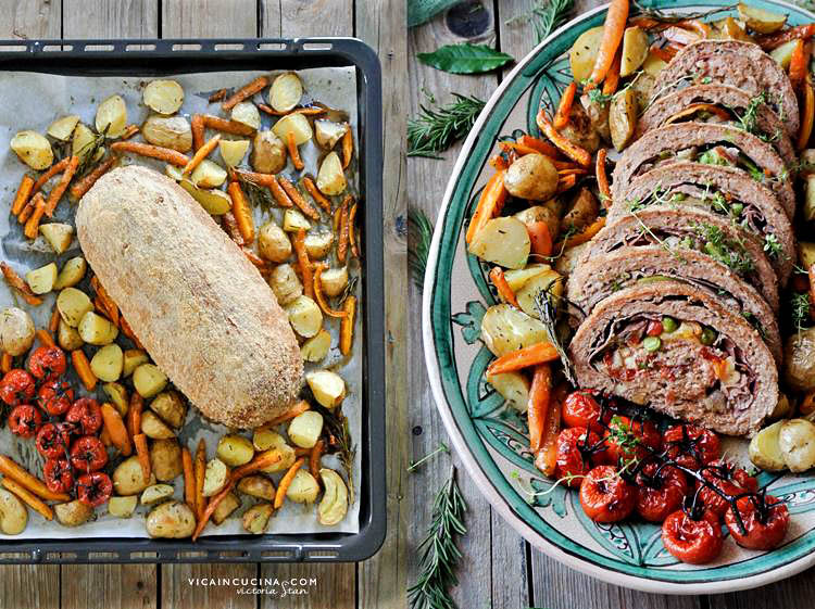 Meatloaf with ham, mozzarella and vegetables @vicaincucina recipe