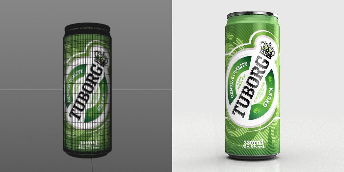 Tuborg Beer 3d can render done in Maxon Cinema 4D