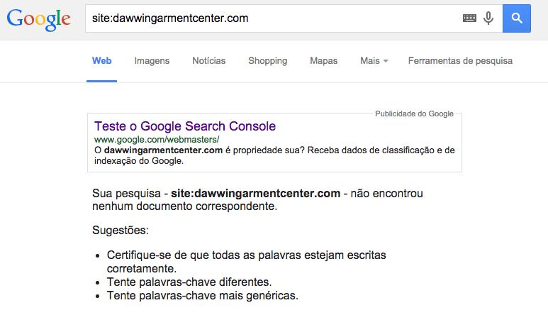 dominio nao indexado google