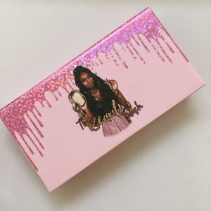 Custom Pink Color Eyelash Box With Foil Dripping