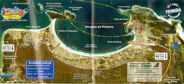 Mapa da região de Pinheira e Guarda do Embaú.