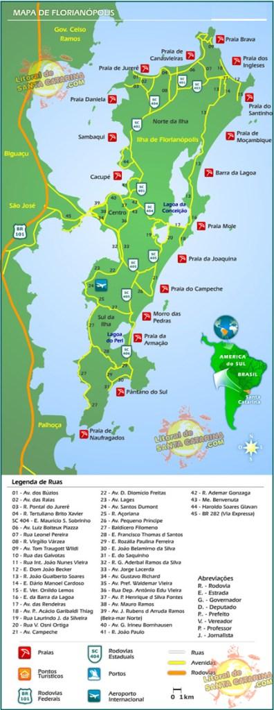 Mapa turístico de Floripa