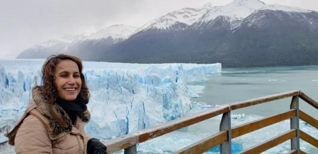 na passarela do glaciar Perito Moreno
