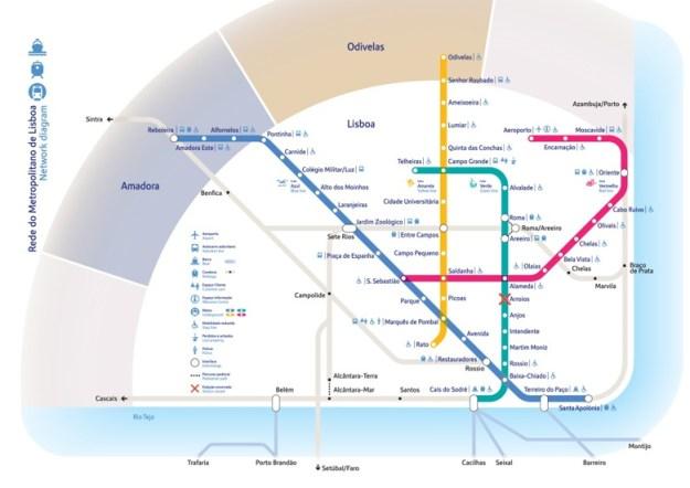 transporte em lisboa mapa metro