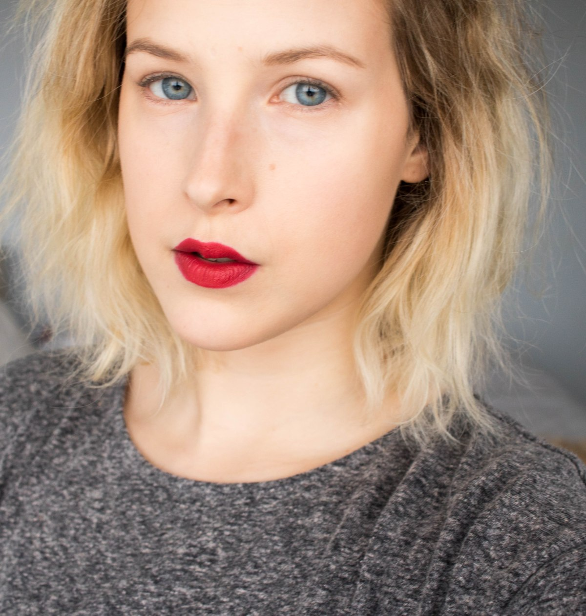 Red Lipstick And No Eye Makeup