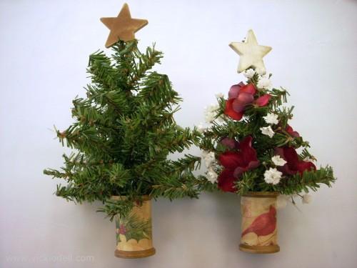 mini christmas trees in a wood spool - Mini Christmas Trees