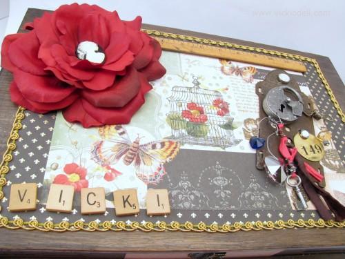 composite flower, scrabble tiles, vintage ruler, industrial chic elements