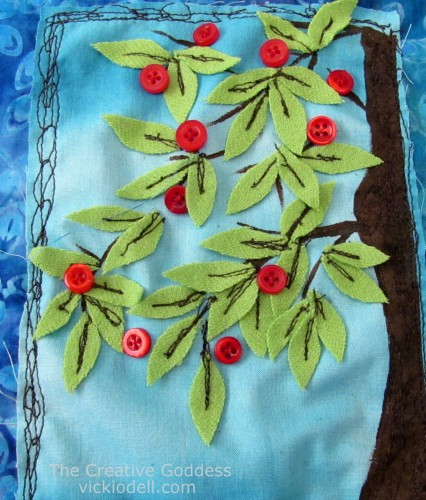 Apple Trees Gratitude Flag - Mixed Media Fabric Collage