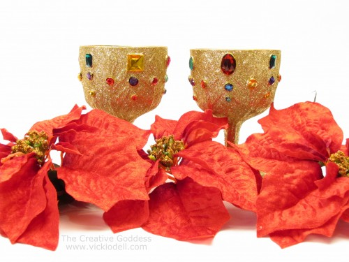 Thrift Store Floral Containers Turned Glitzy Holiday Decor