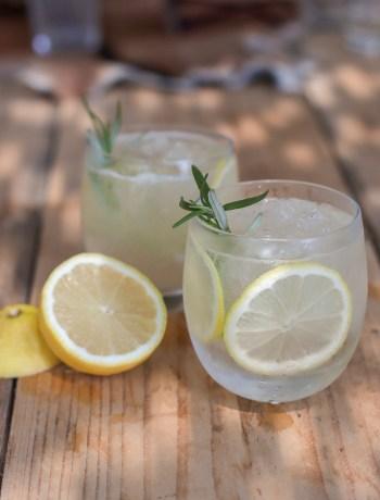 Gin-cocktail met Ginger Ale, citroen en rozemarijn