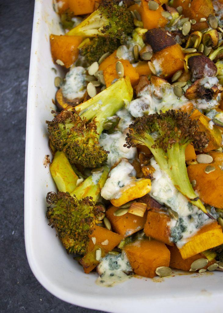 Pompoen ovenschotel met broccoli en pompoenpitten