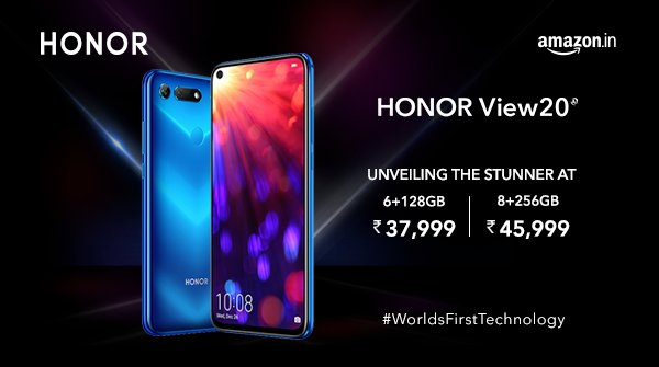 Honor View20 Smartphone Launched in India for Rs.37,999 & Sale starts on 30th Jan through Amazon Exclusive