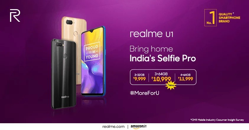 Realme Introduced new storage configuration for Realme U1: Price, Sale & Specs