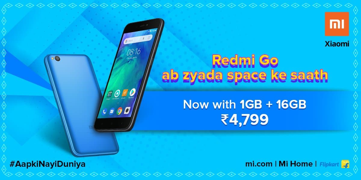 Redmi GO price Rs. 4,799 for new storage variant 1GB + 16GB