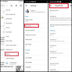 Google Chrome Android Password manager