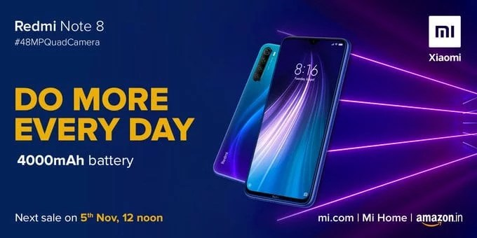 Redmi note 8 next sale on Amazon: 5th November, 12 noon
