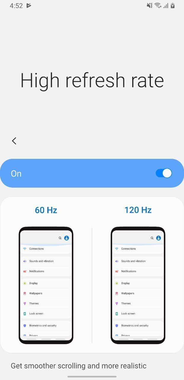Samsung Galaxy S11 120Hz display