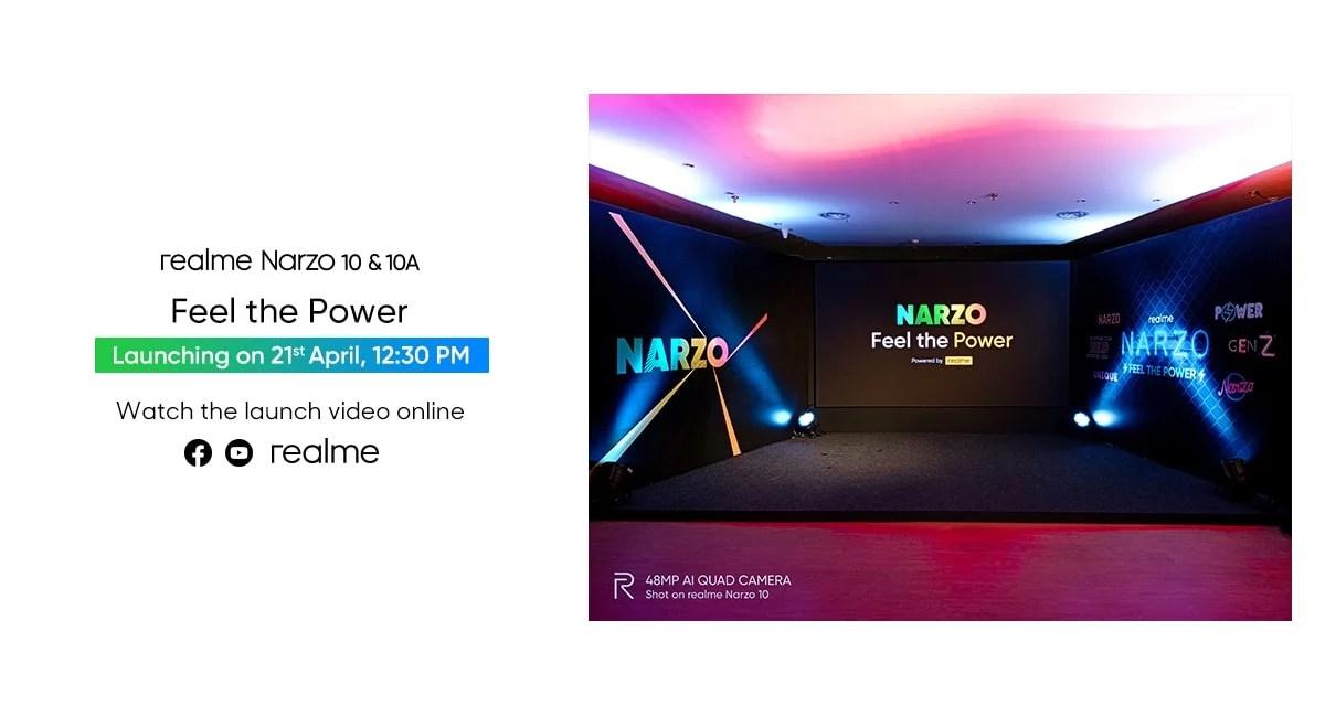 Realme Narzo 10 & Narzo 10a launch event on 21st April