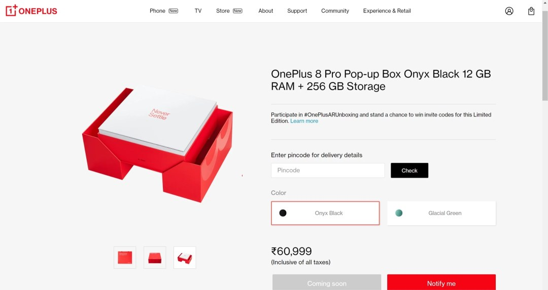 OnePlus 8 and 8 Pro pop up box launched in India priced for Rs. 1000 extra over the actual price of OnePlus 8 series in Glacial Green & Onyx black colors