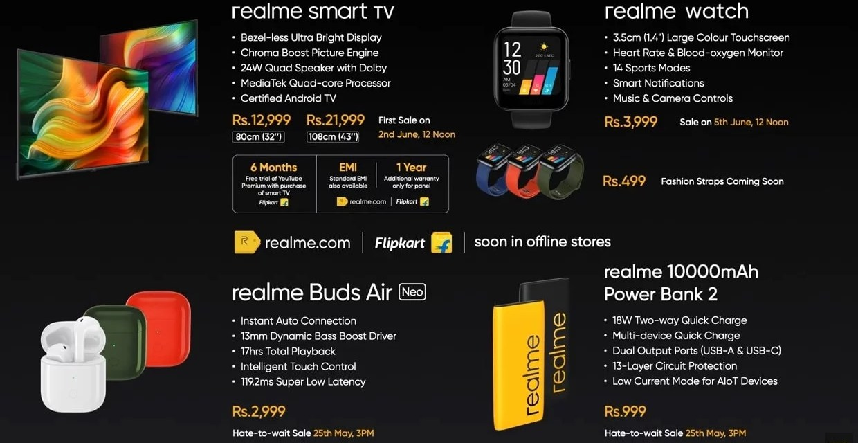 Realme Smart TV, Smart Watch, Buds Air Neo & Power Bank 2 Price & Sale details