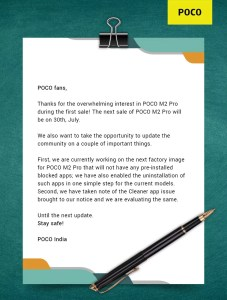 POCO press release about the Bloatware Apps