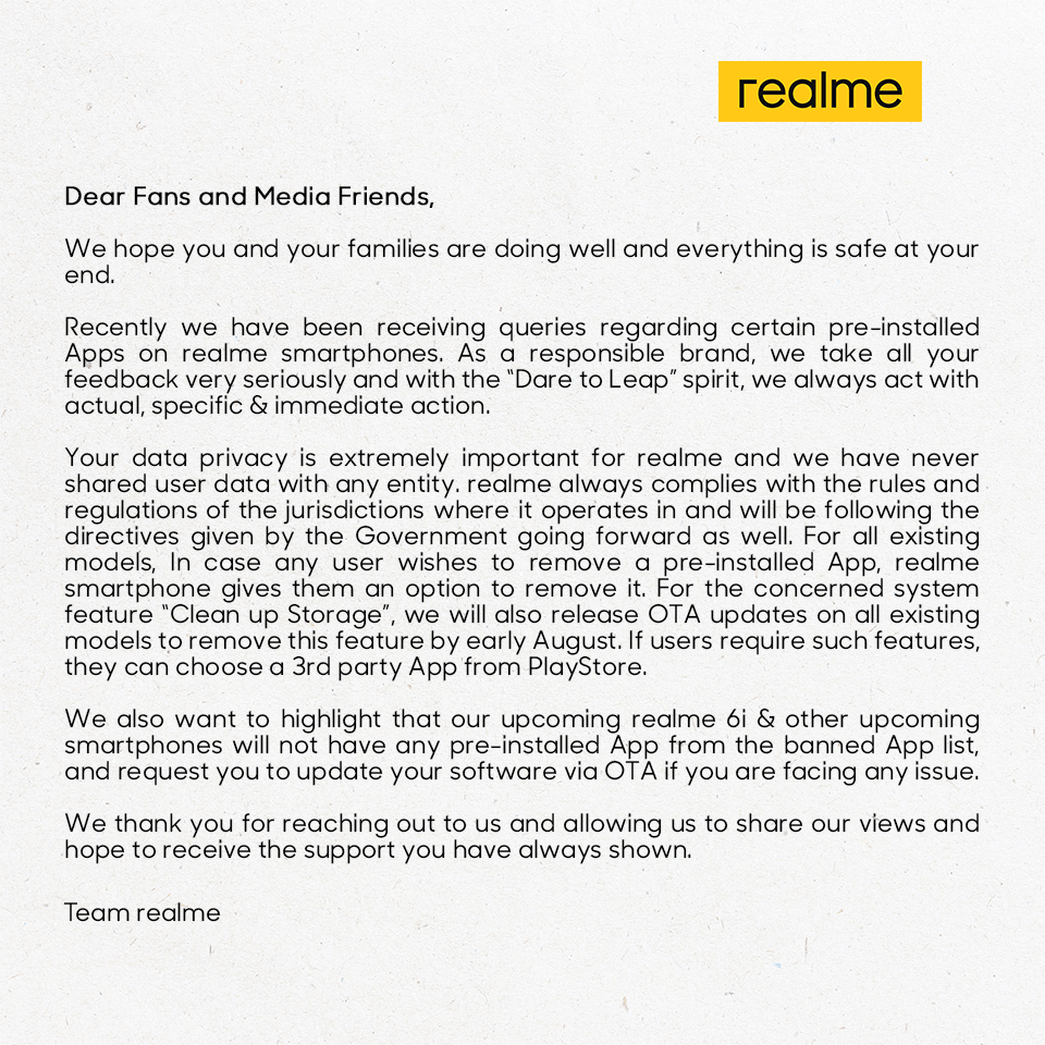 realme press release about the Bloatware Apps