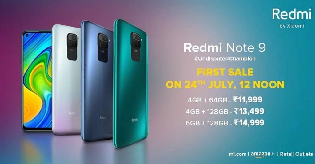 Redmi Note 9 launched in 3 storage variants, 4GB + 64GB, 4GB + 128GB & 6GB + 128GB priced for Rs. 11,999 and Rs. 13,499 and Rs. 14,999