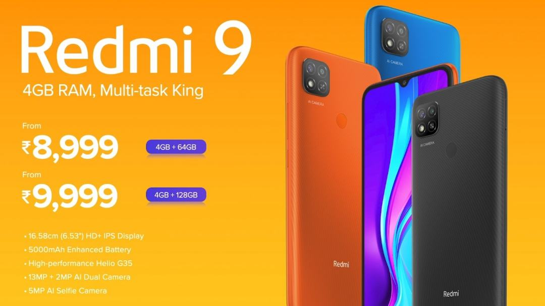 Redmi 9 is launched in India it's a lower model of the recent launch of Redmi 9 prime. Redmi 9 prices for Rs. 8,999 for 4GB + 64GB & available in three colors